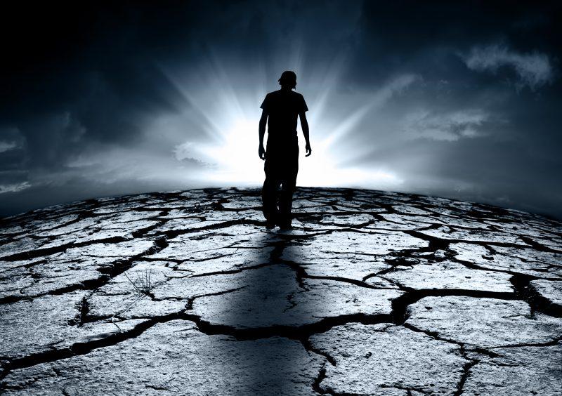 depressed teenager walks towards a bright light